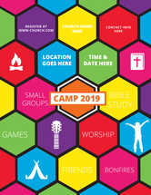 Camp Event Flyer for Teens or Children's Ministry with Bright Colors Icons and Words