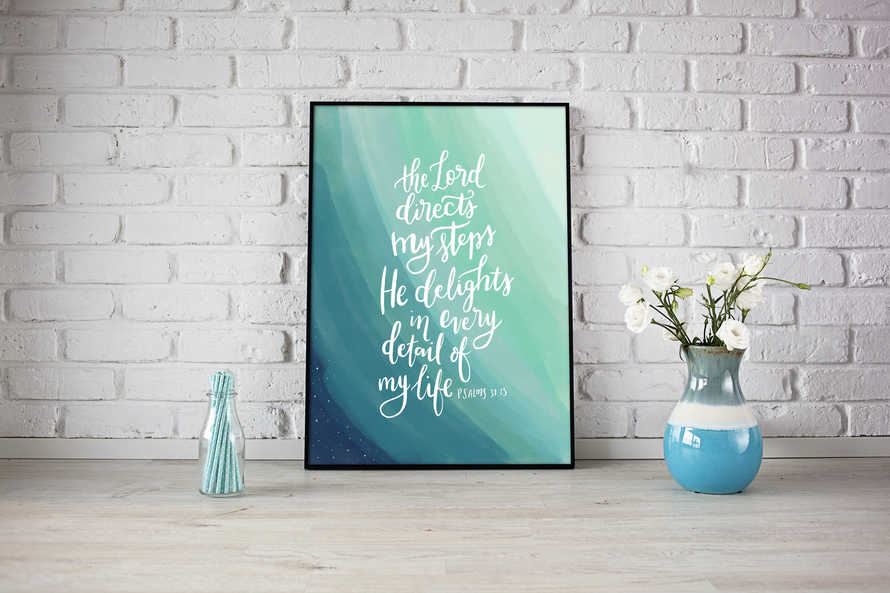 Digital Print Hand Lettered Bible Quote: Psalm 37v23