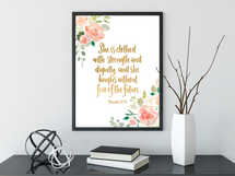 She is Clothed in Strength and Dignity Bible Verse Prints, Inspirational Print, Proverbs 31