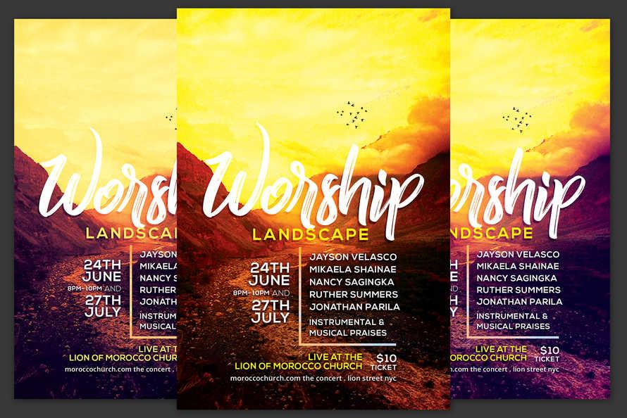 Worship Landscape Church Flyer