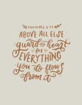 Hand lettered Digital Print - Proverbs 4:23 Bible verse