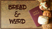 slides with bible, bread and rolls on wooden table for Matthew 4:4 - Man shall not live on bread alone with psd and jpg files – text individually exchangeable