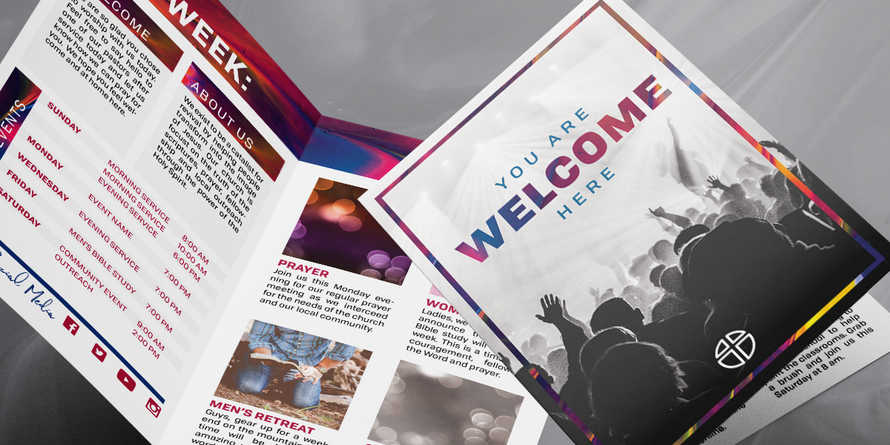 Welcome Worship 11x8.5 half fold brochure