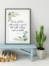 Bible Verse Print, 1 John 3 18, Let us not love with words or speech, Olive Wreath,