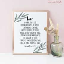 1 Corinthians 13, Love is patient, love is kind Bible Verse Prints, Olive Wreath