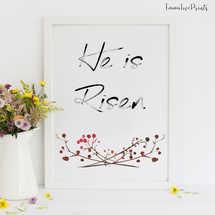 He is Risen, Easter Wall Art, Spring wall art, Bible Verse Prints, Scripture Prints,