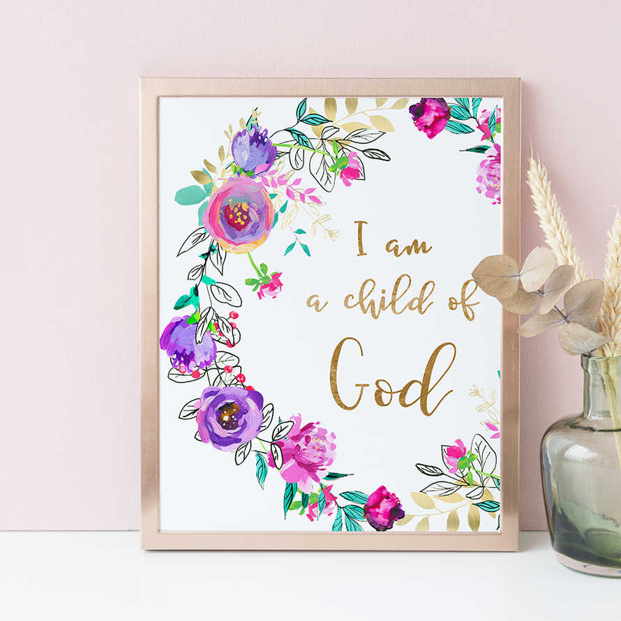 I Am A Child Of God, Purple Floral Wreath, Nursery Wall Decor, Bible Verse, Wall Art Print