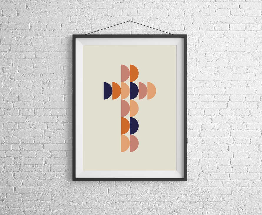 Abstract Cross Digital Print