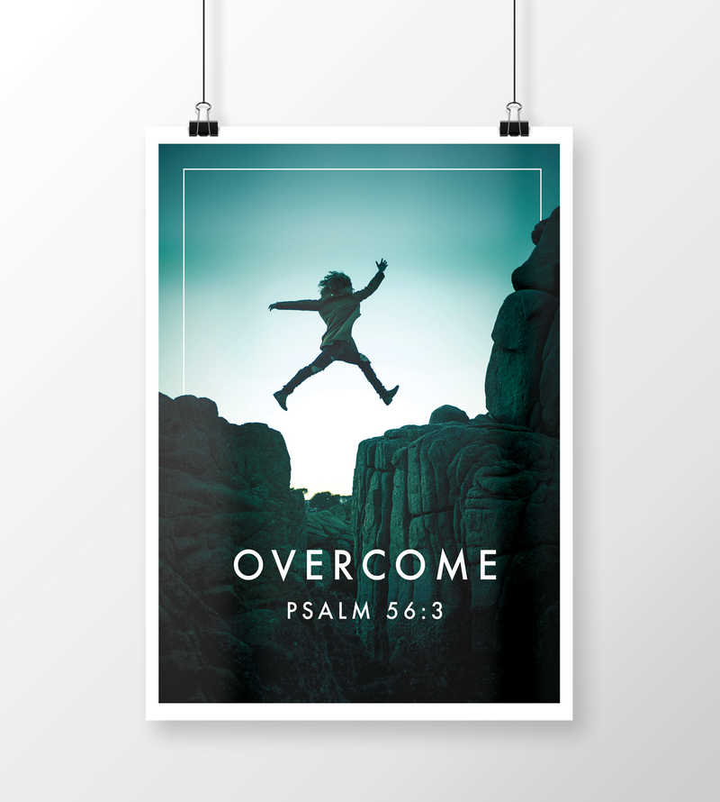 Overcome Fear, Anxiety, Depression Flyer Template Psalm 53:6