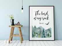 The Lord Is my Rock, Psalm 18 2, Scripture Wall Art, Bible Verse Print, Mountains Wall Art