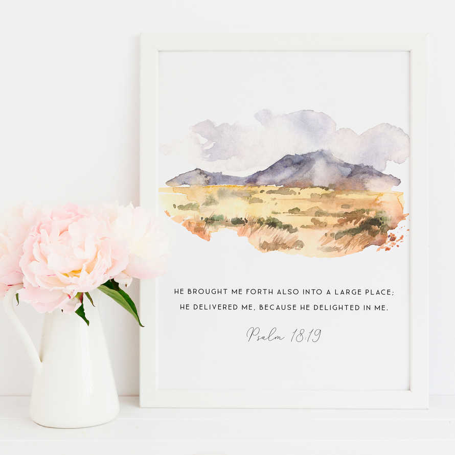 Bible Verse Prints, Psalm 18:19 Scripture Prints Botanical print He brought me forth also into a large place