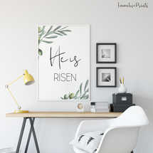 He is risen, Easter Wall Art, Bible Verse Prints, Olive Wreath, Scripture Prints,