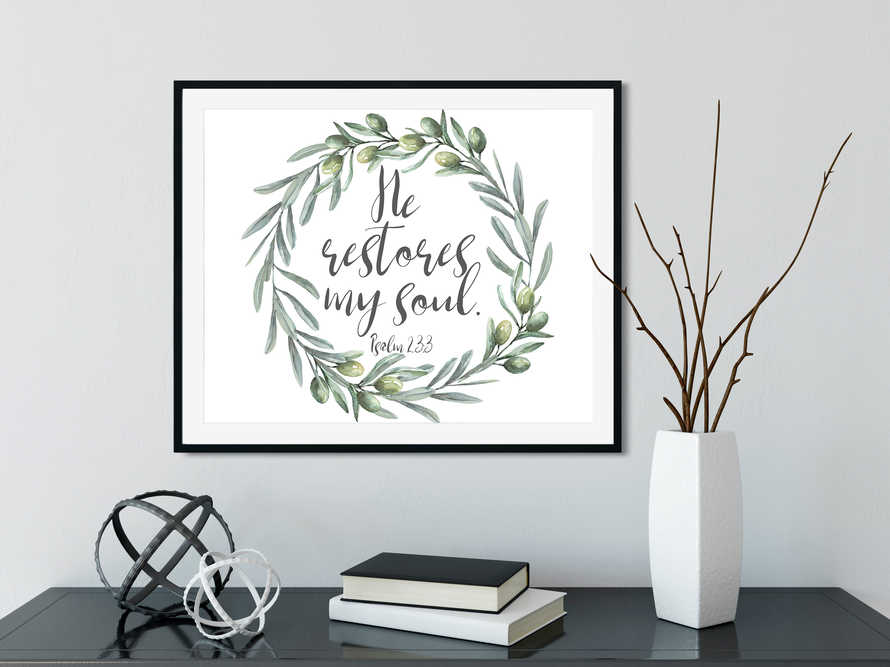 Psalm 23, He restores my soul, Home Decor, Olive wreath,  Large wall art