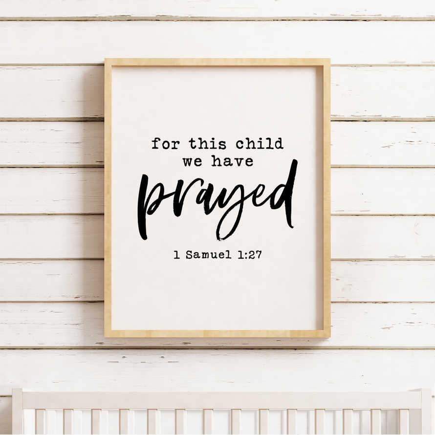 For This Child We Have Prayed Printable, 1 Samuel 1:27, Bible nursery  printable