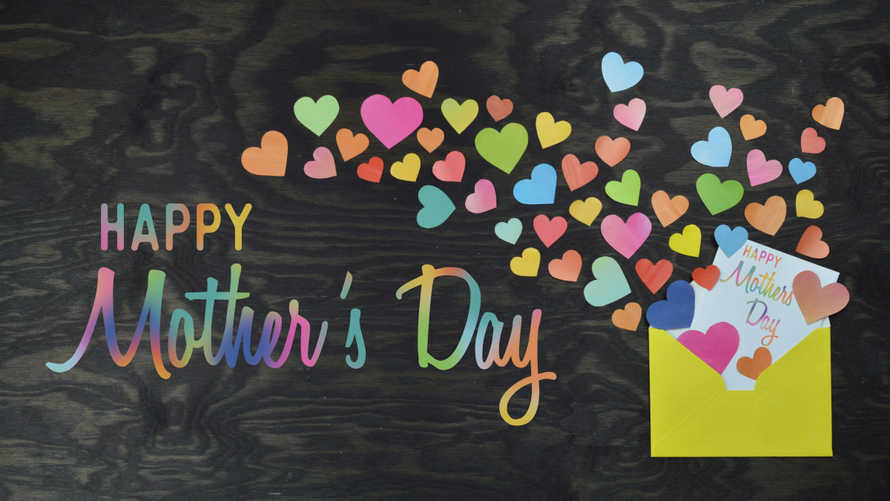 colorful multicolored little hearts out of envelope for Mother's Day