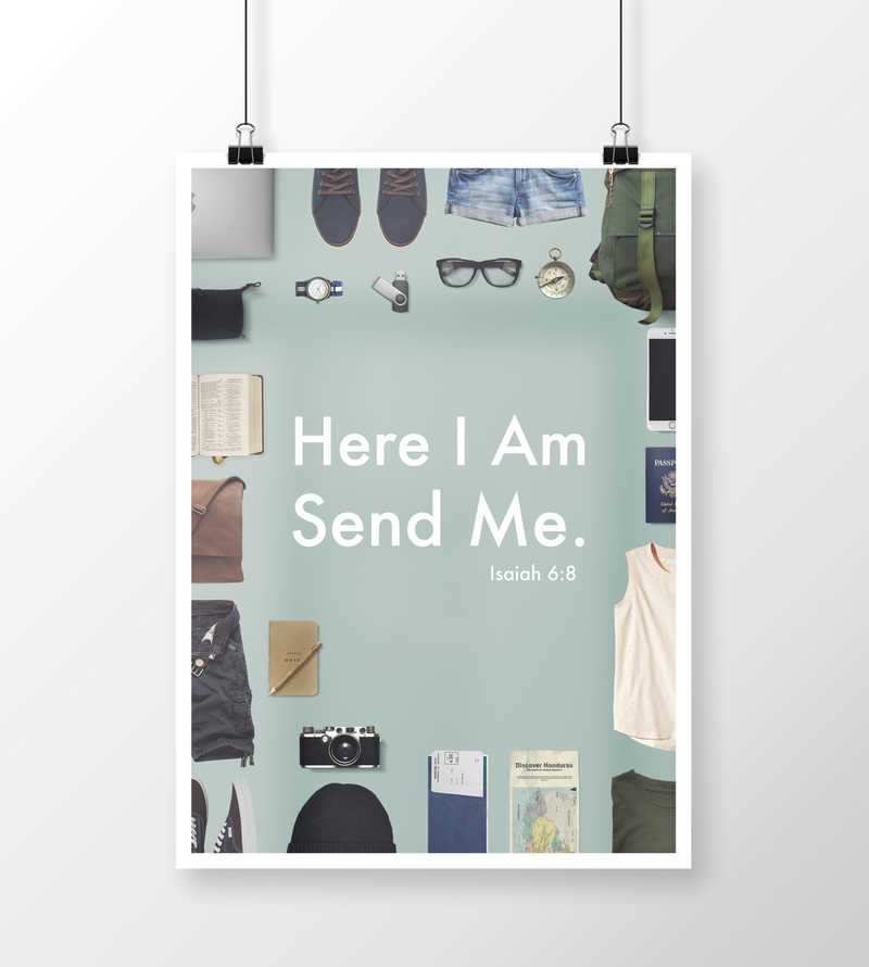 Here I Am Send Me Isaiah 6:8 Missions Flyer Camp Graphic Background