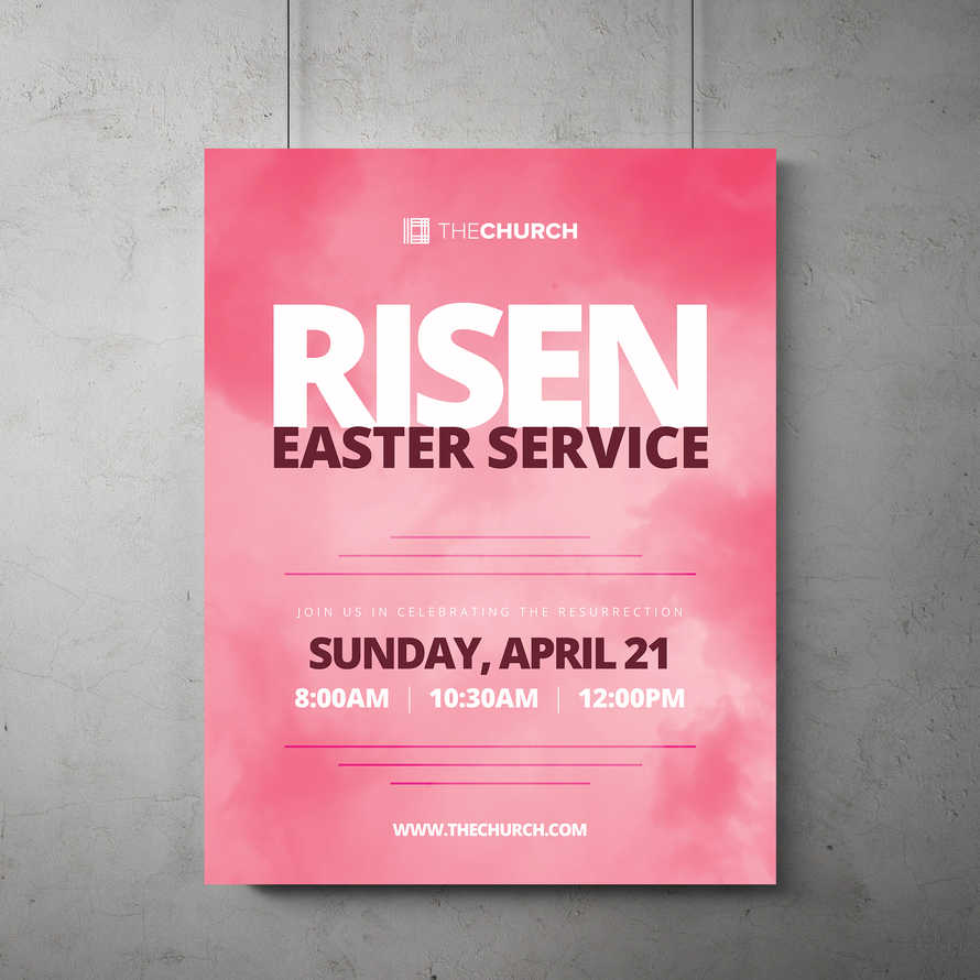Risen Easter Service Flyer Template