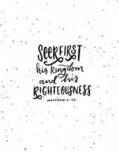 Hand lettered Digital Print - Matthew 6:33 : Bible verse