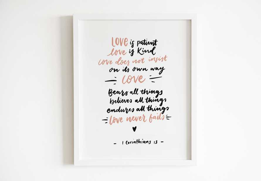 Hand lettered Digital Print - 1 Corinthians 13: Bible verse