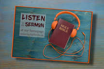 Flyer with link to homepage where you can listen to the sermon as psd and jpg – text individually exchangeable