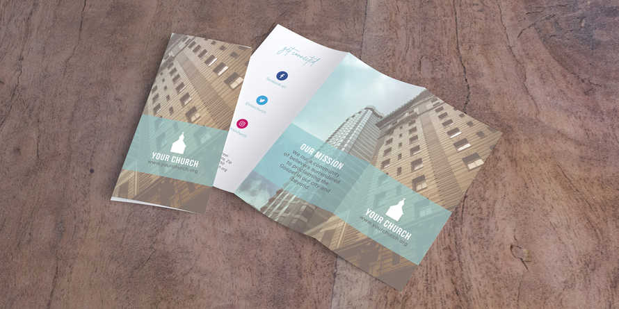 Aqua Church Trifold Letter Brochure