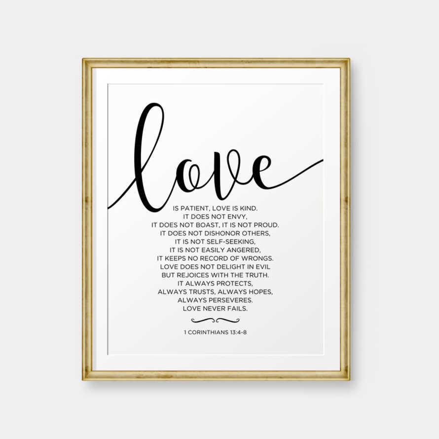 Love is patient, Love is kind, 1 Corinthians 13:4-8, Bible Verse printable