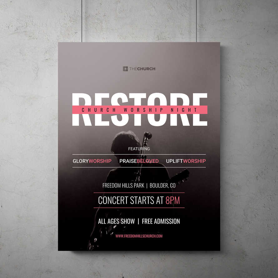 Restored Worship Night Flyer Template