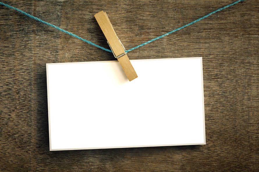 Card on a wire with clothes peg