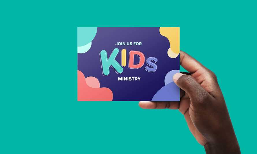 Kids Ministry postcard design for print and web/email