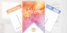 Welcome Watercolor 4x6 connection card set