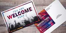 Welcome Worship 6x4 postcard