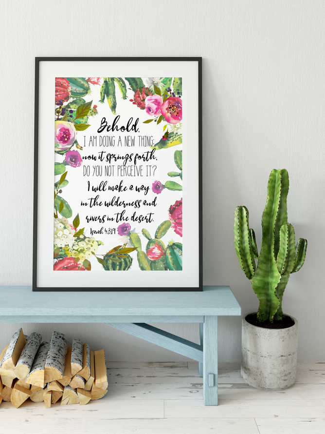 Bible Verse Wall Art, Cactus Print, Behold, Isaiah 43 19, Botanical Print, Farmhouse Decor