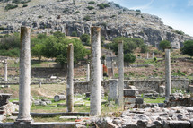 Looking from Basilica B to Basilica A. Remains from historic Philippi that would have been visited by the Apostle Paul, Silas, Lydia and early Christians from Acts 16. These remains are near the Agora of Philippi.