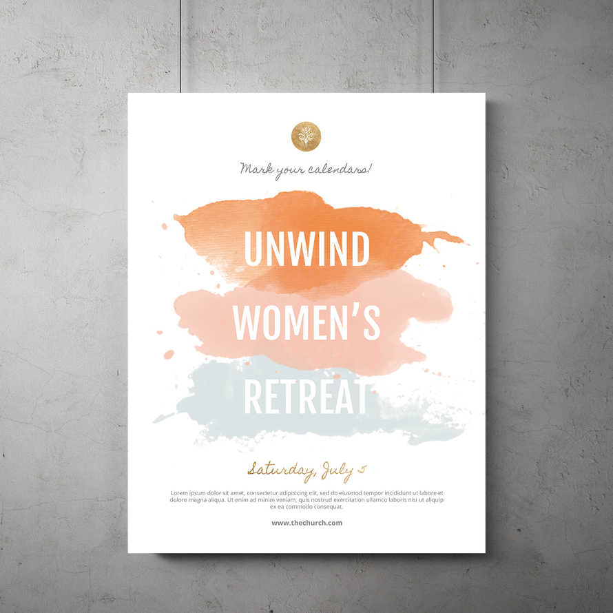 Unwind Women's Retreat Flyer Template