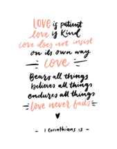 Hand lettered Digital Print - 1 Corinthians 13: Bible verse