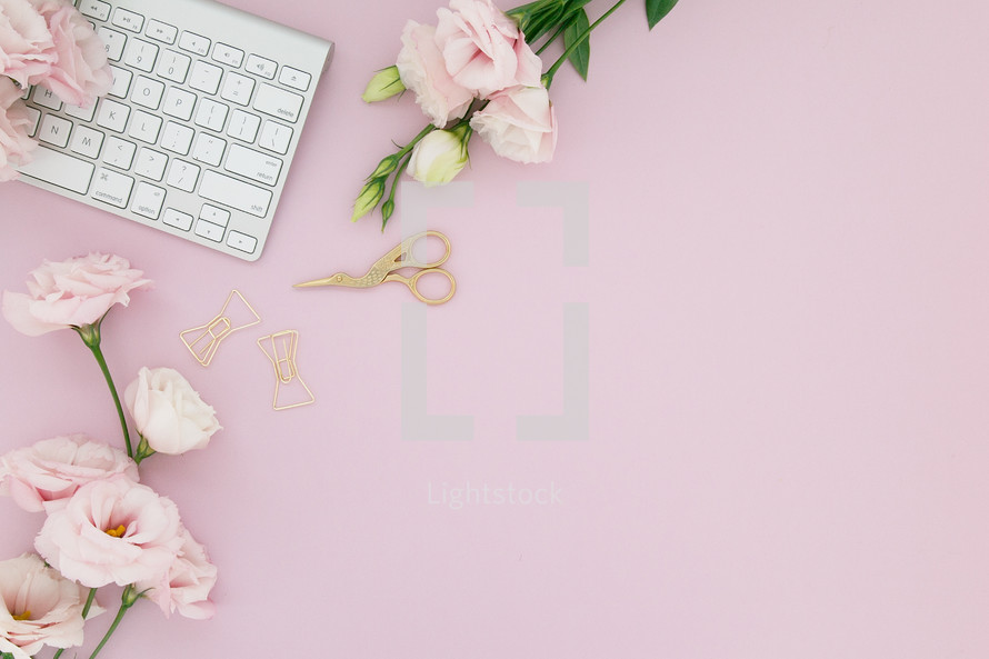 A white computer keyboard on a pink background with pink flowers.
