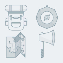 exploration icon set [backpack, compass, map, ax]