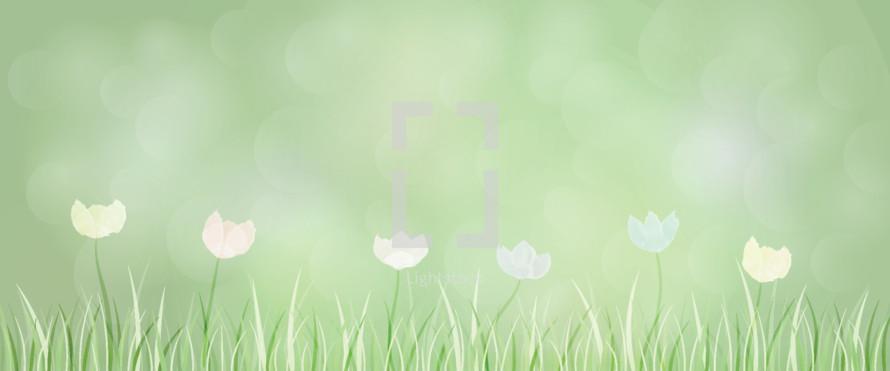 flower and grass banner