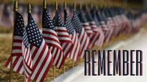 American flags and remember