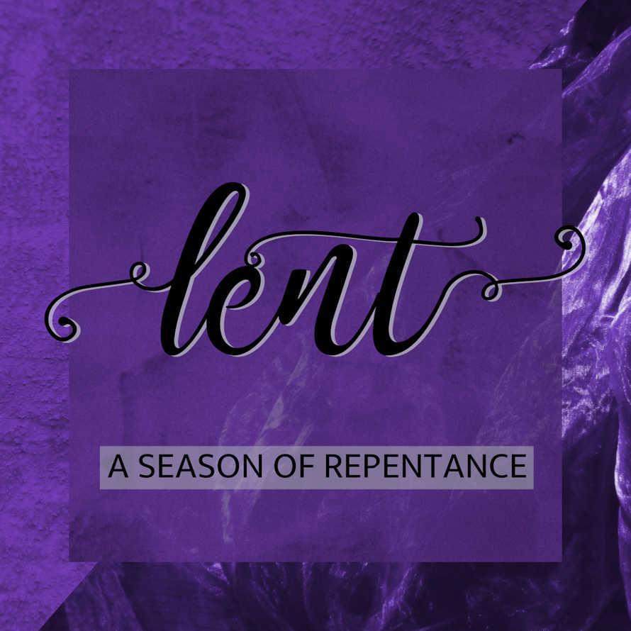 word LENT on purple background