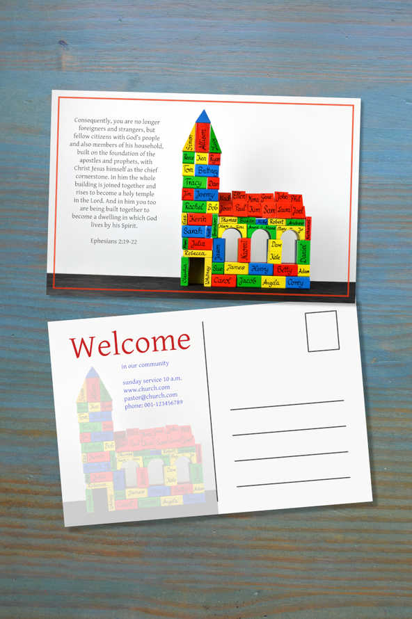 welcome postcard as invitation with psd and jpg – text individually exchangeable