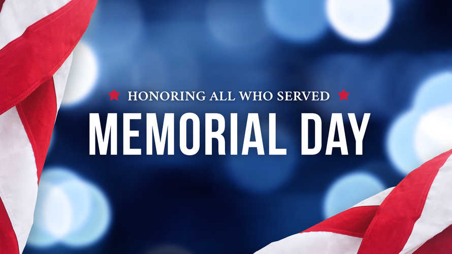 Memorial Day - Honoring All Who Served Text Over Blue Lights Background and American Flags