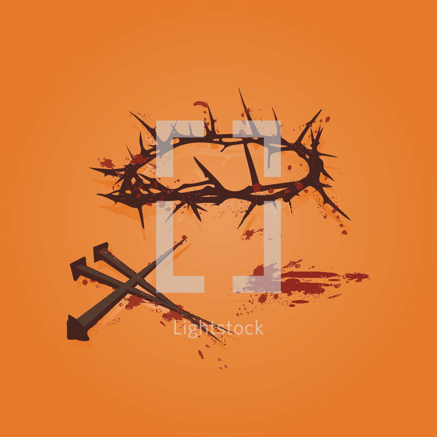 crown of thorns, three nails, blood Good Friday illustrations