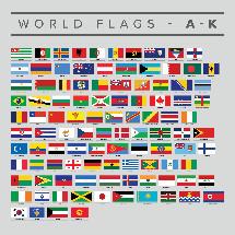 Set of world flags A-K.