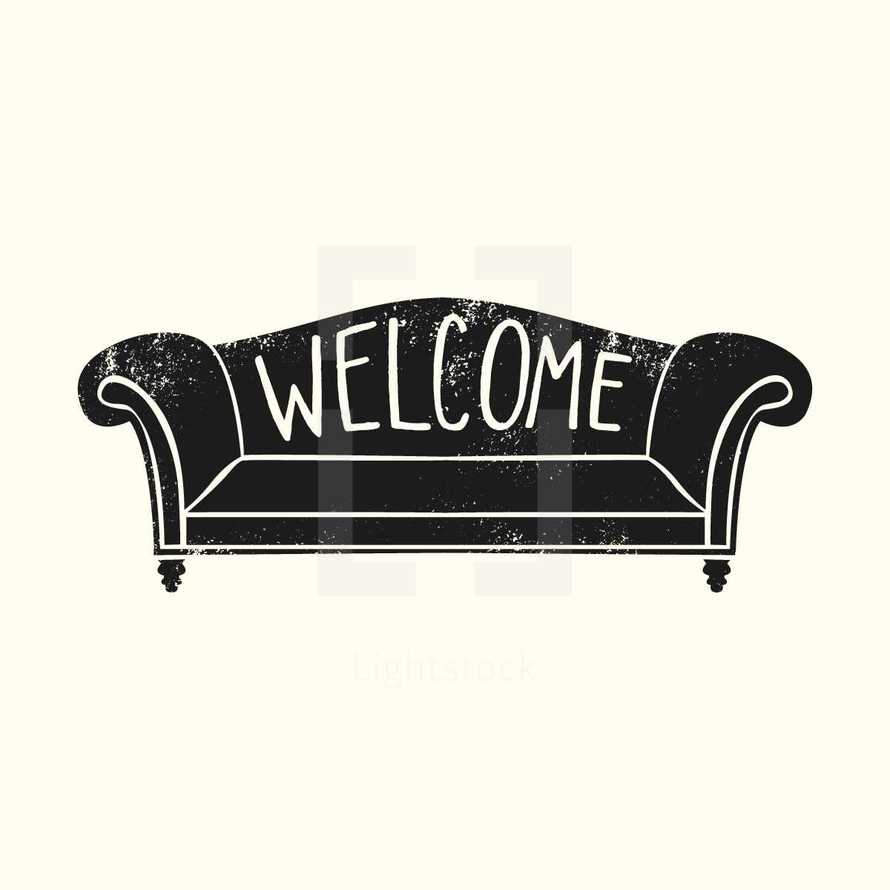 welcome on a couch