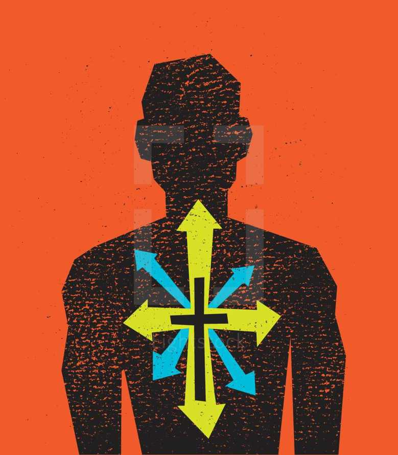From the Inside Out, Cross, Texture, Arrows, Silhouette, Man, Revival Renew, icon