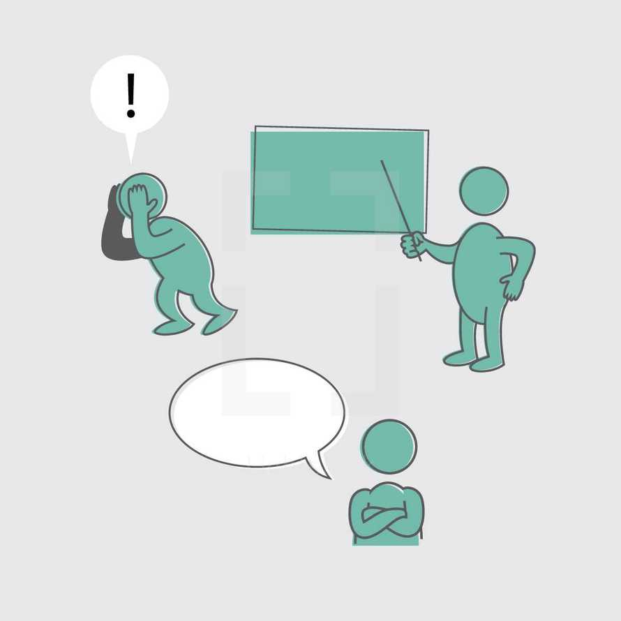 disappointed, people, icon, chalkboard, shrug, surprised, arms folded, man, teacher, seminar, leader, talk bubble, !