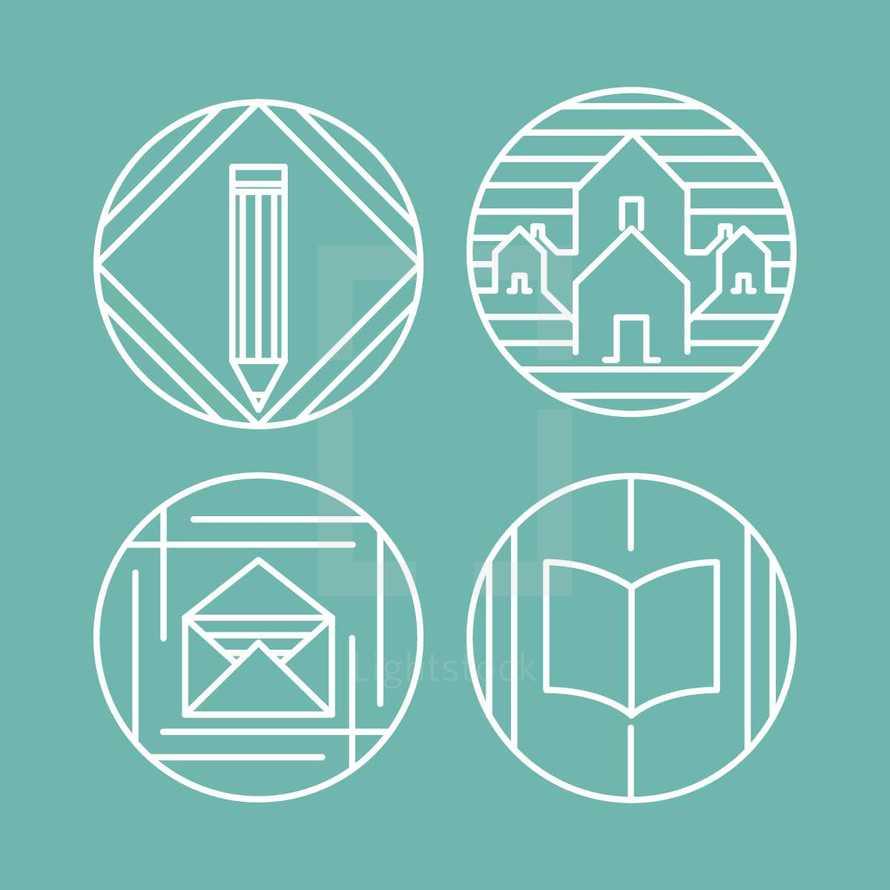 envelope, book, pencil, neighborhood, houses, community