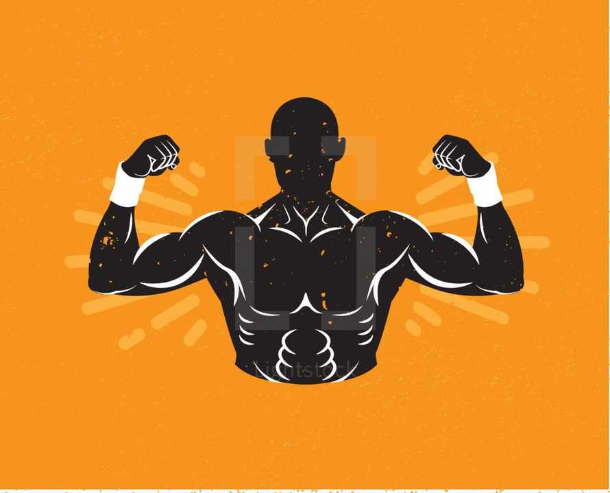strong man with Mustache - Bicep, Strength, Flex. Muscle, Silhouette, Man Body, Icon, strong man, mustache, singlet, Hipster.