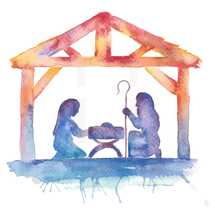 Water color Nativity illustration with Mary, Joseph, baby Jesus, manger.